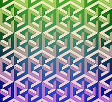 Penrose Cube Stack - Green Purple by VanHogTrio