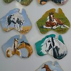 Hand painted magnets in oils by louisegreen