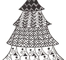 Zentangle Christmas Tree 009 by Ryan Elizabeth Woelfel