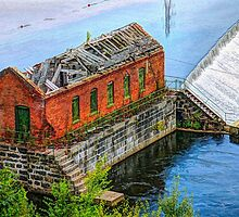 Water power is harnessed by early New England industry.  by Photonrecorder