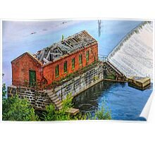 Water power is harnessed by early New England industry.  Poster