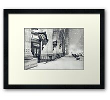 Winter Night - Snow Falls in the Big Apple - New York City Framed Print
