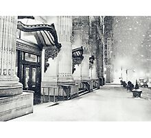 Winter Night - Snow Falls in the Big Apple - New York City Photographic Print