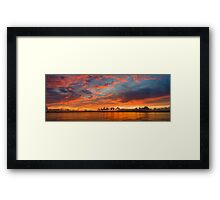 panoramic sunset in the Guadiana river Framed Print