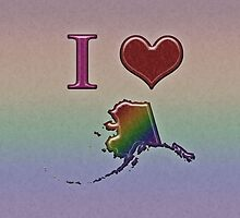 I Heart Alaska Rainbow Map - LGBT Equality by LiveLoudGraphic