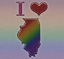 I Heart Illinois Rainbow Map - LGBT Equality by LiveLoudGraphic