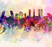 Madrid skyline in watercolor background by Pablo Romero