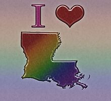 I Heart Louisiana Rainbow Map - LGBT Equality by LiveLoudGraphic