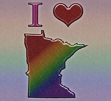 I Heart Minnesota Rainbow Map - LGBT Equality by LiveLoudGraphic