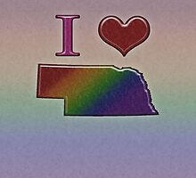 I Heart Nebraska Rainbow Map - LGBT Equality by LiveLoudGraphic