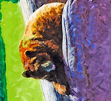 American Black Bear at Rest Abstract Impressionism by pjwuebker