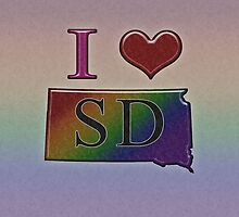 I Heart South Dakota Rainbow Map - LGBT Equality by LiveLoudGraphic
