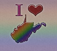 I Heart West Virginia Rainbow Map - LGBT Equality by LiveLoudGraphic