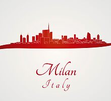 Milan skyline in red by Pablo Romero