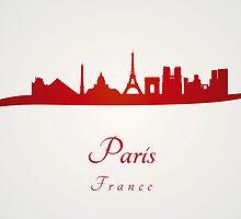 Paris skyline in red by Pablo Romero