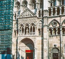 Entrance Duomo Ferrari Italy 198404150083  by Fred Mitchell