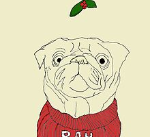 Pug Humbug Illustrated Christmas card by aghaynes