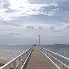 Looking towards Mornington Peninsular, Point Lonsdale Jetty, Vic. Australia. by Rita Blom