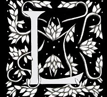 "Art Nouveau ""L"" (William Morris Inspired) by Donna Huntriss"