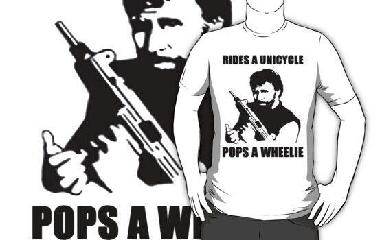 CHUCK NORRIS RIDES A UNICYCLE POPS A WHEELIE by BelfastBoy
