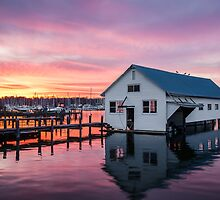 Sunset Over the Boat House by jandgcc