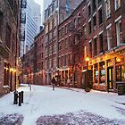 Stone Street in the Snow - New York City by Vivienne Gucwa