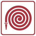 Fire hose symbol, red on white with red border by Mhea