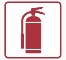 Fire extinguisher symbol, red on white with red border by Mhea