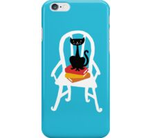 Still life with cat, chair, and book iPhone Case/Skin