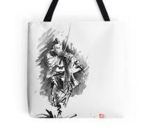 Samurai sword bushido katana martial arts sumi-e original running run man design ronin ink painting artwork Tote Bag