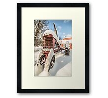 Vintage Farmall Tractor in the Snow Framed Print