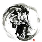 Aikido techniques martial arts sumi-e black white ink painting watercolor artwork by Mariusz Szmerdt