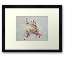 Patchwork Reindeer in the Snow Framed Print