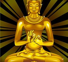 Buddha Siddhartha Gautama Golden Statue by BluedarkArt