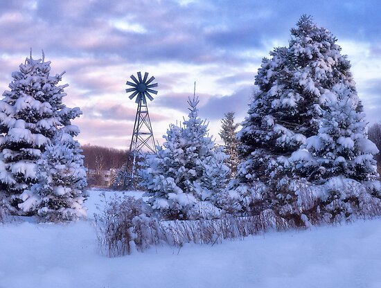 Windmill In the Snow by Kathy Weaver
