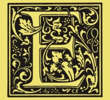 William Morris Renaissance Style Cloister Alphabet Letter E by Pixelchicken