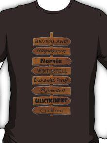 Fictional Places Signpost T-Shirt