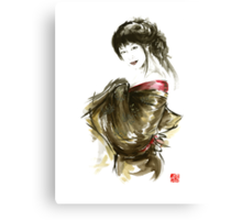 Geisha Gold Kimono Japanese woman black hair jewerly sumi-e original painting art print Canvas Print