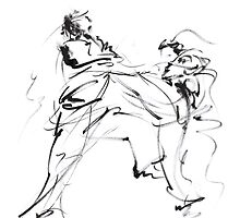 Karate martial arts kyokushinkai japanese kick oyama ko knock out japan ink sumi-e by Mariusz Szmerdt