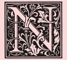 William Morris Renaissance Style Cloister Alphabet Letter N by Pixelchicken