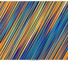 Color and Form Abstract - Striped Line Rain of Yellows and Blues by Leah McNeir