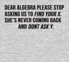 Dear Algebra Stop Asking Us To Find Your X by Alan Craker