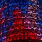 Bright Blue, Red and Pink Illumination - Agbar Tower, Barcelona, Catalonia, Spain by Georgia Mizuleva