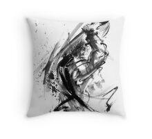 Samurai ronin wild fury bushi bushido martial arts sumi-e original ink painting artwork Throw Pillow