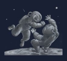 Astronaut Fistfight - Angry Space Men Fight On a Distant Moon or Planet, Far From Their Spaceship by Monkeynaut