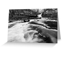West Burton Waterfalls (B&W) Greeting Card