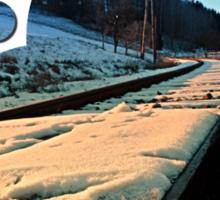 Railroads in winter wonderland | landscape photography Sticker