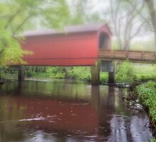 Sugar Creek Covered Bridge Misty reflection, near Route 66, Glenarm, IL by swtrekker