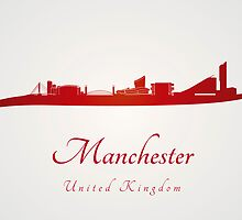 Manchester skyline in red by Pablo Romero