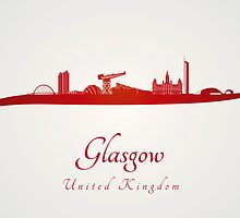 Glasgow skyline in red by Pablo Romero
